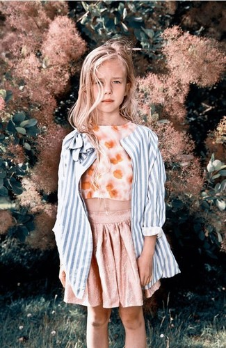 How to wear: light blue vertical striped coat, orange floral tank top, pink skirt