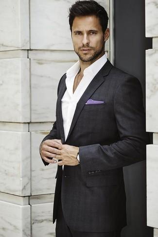 How to wear: light violet cotton pocket square, white dress shirt, charcoal plaid suit