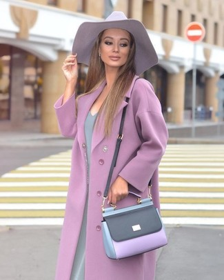 How to wear: light violet hat, light violet leather crossbody bag, grey sheath dress, light violet coat