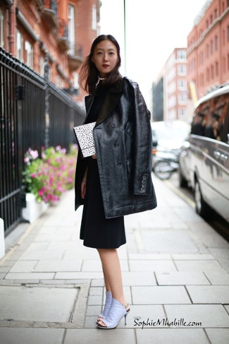 How to wear: white and black polka dot clutch, light violet leather mules, black sheath dress, black leather fur coat