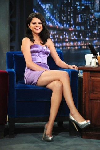 Selena Gomez wearing Light Violet Satin Sheath Dress, Silver Leather Pumps