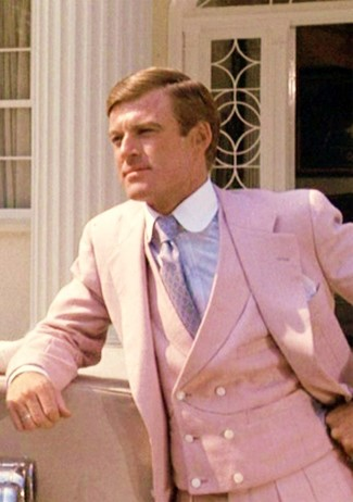How to wear: light violet tie, light blue dress shirt, pink three piece suit
