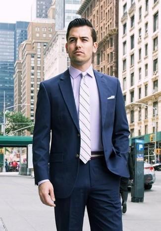 How to wear: white polka dot pocket square, light violet horizontal striped tie, light violet dress shirt, navy suit