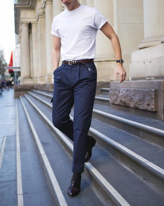 How to wear: dark brown leather belt, black leather loafers, navy wool cargo pants, white crew-neck t-shirt