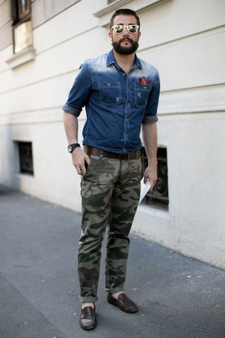 How to wear: red horizontal striped pocket square, dark brown leather loafers, olive camouflage chinos, blue denim shirt