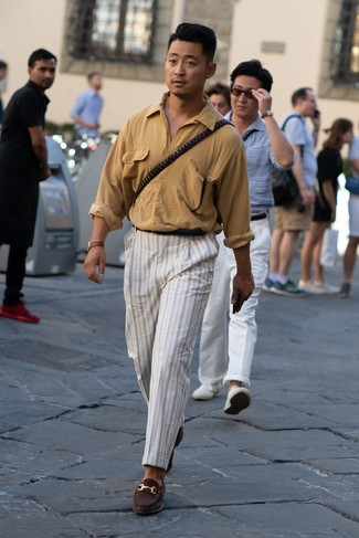 How to wear: black leather belt, dark brown suede loafers, white vertical striped chinos, tan long sleeve shirt