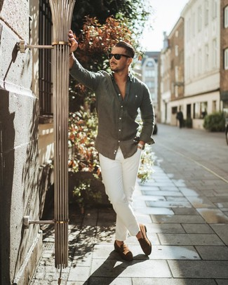 How to wear: black sunglasses, brown suede loafers, white chinos, charcoal linen long sleeve shirt