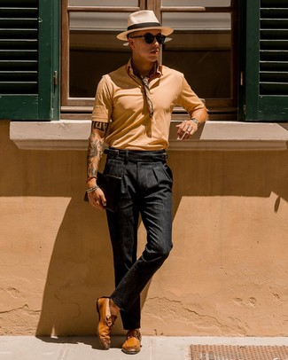 How to wear: beige bandana, tobacco leather loafers, black chinos, tan polo