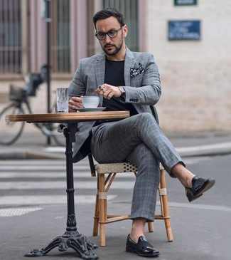 How to wear: black and white polka dot pocket square, black leather loafers, black crew-neck t-shirt, grey plaid suit