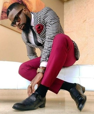 How to wear: black tie, black leather loafers, red dress pants, black and white gingham blazer