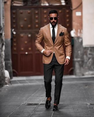 How to wear: black silk tie, black leather loafers, black dress pants, tan blazer