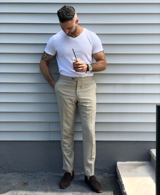 How to wear: black leather watch, dark brown suede loafers, beige dress pants, white crew-neck t-shirt