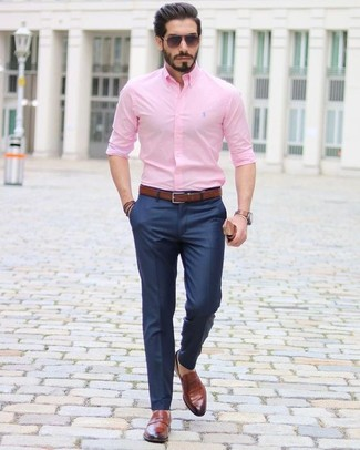 How to wear: dark brown leather belt, brown leather loafers, navy dress pants, pink dress shirt