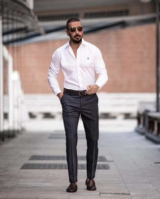 How to wear: dark brown leather belt, dark brown woven leather loafers, charcoal vertical striped dress pants, white dress shirt