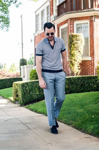 How to wear: black sunglasses, navy suede loafers, grey dress pants, grey polo