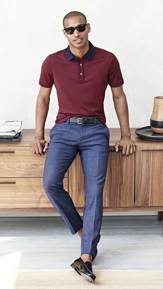 How to wear: black leather belt, black leather loafers, blue dress pants, burgundy polo