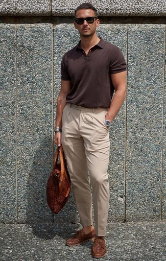 How to wear: tobacco leather tote bag, brown woven leather loafers, beige dress pants, dark brown polo