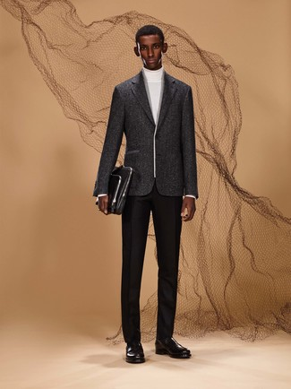 How to wear: black leather briefcase, black leather loafers, black wool dress pants, white turtleneck