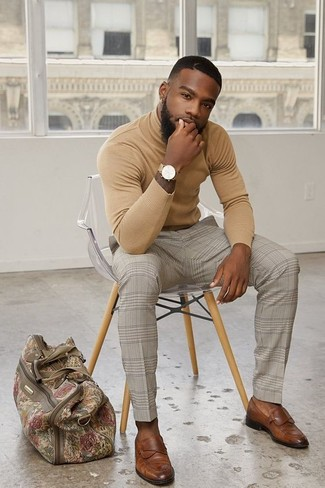 How to wear: beige canvas holdall, brown leather loafers, beige check dress pants, tan turtleneck