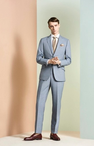 How to wear: beige tie, burgundy leather loafers, white dress shirt, light blue check suit