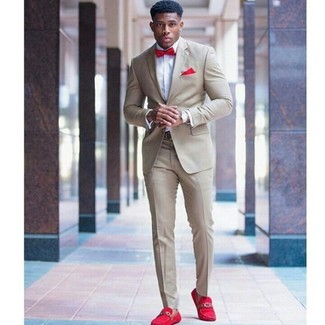 How to wear: red bow-tie, red suede loafers, white dress shirt, beige suit