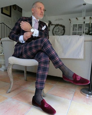 How to wear: pink tie, red velvet loafers, white dress shirt, navy plaid suit