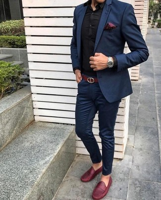 How to wear: burgundy polka dot pocket square, red leather loafers, black dress shirt, navy suit