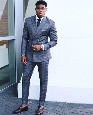How to wear: navy tie, dark brown leather loafers, white dress shirt, blue check suit