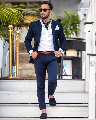 How to wear: white pocket square, navy suede loafers, white dress shirt, navy suit