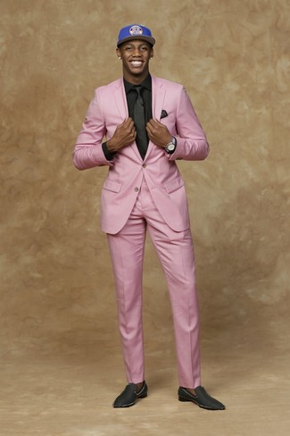 How to wear: blue print baseball cap, black satin loafers, black dress shirt, pink suit