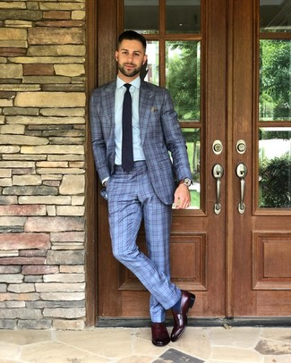 How to Wear a Brown Pocket Square: Inject style into your current casual routine with a light blue plaid suit and a brown pocket square. Rounding off with a pair of burgundy leather loafers is an effortless way to bring some extra definition to your ensemble.