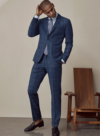 How to Wear a Light Blue Dress Shirt For Men: A light blue dress shirt and a navy check suit are a sophisticated ensemble that every sharp guy should have in his arsenal. On the shoe front, this ensemble pairs perfectly with black leather loafers.