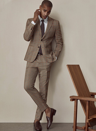 How to Wear Dark Brown Leather Loafers For Men: Channel your inner Kingsman agent and wear a brown plaid suit and a white dress shirt. On the shoe front, this look is completed wonderfully with dark brown leather loafers.
