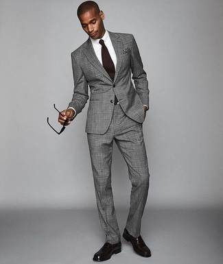 How to Wear Dark Purple Leather Loafers For Men: Dress in a grey plaid suit and a white dress shirt to be the embodiment of sophistication. A pair of dark purple leather loafers will be the ideal addition for this ensemble.
