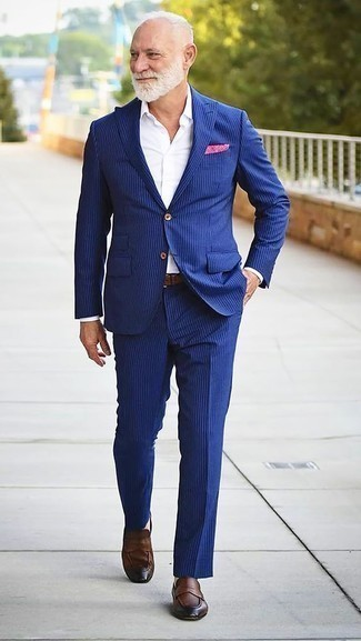 How to Wear a Blue Vertical Striped Suit: This polished pairing of a blue vertical striped suit and a white dress shirt will cement your sartorial chops. For something more on the daring side to complement your look, complement this getup with a pair of brown leather loafers.
