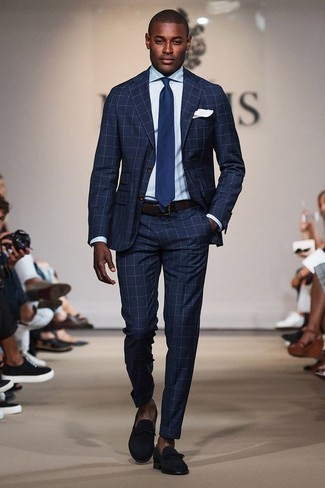 Men's Looks & Outfits: What To Wear In 2020: You'll be surprised at how very easy it is to get dressed like this. Just a navy check suit worn with a light blue dress shirt. Navy suede loafers are a winning footwear style here that's full of character.