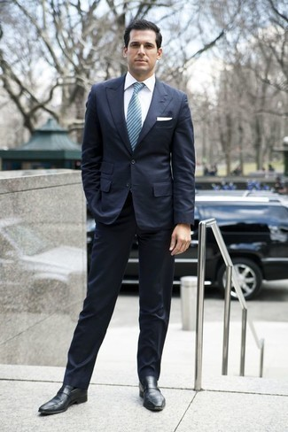 How to Wear Black Socks For Men: For an outfit that offers comfort and dapperness, dress in a navy suit and black socks. To give your overall look a more elegant vibe, why not add a pair of black leather loafers to the equation?