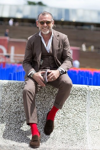 How to wear: dark brown sunglasses, dark brown suede loafers, white dress shirt, brown three piece suit