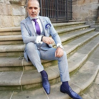 How to wear: violet silk tie, violet leather loafers, white dress shirt, grey check three piece suit