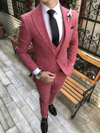 How to wear: black tie, black leather loafers, white dress shirt, red three piece suit