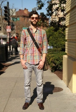 How to Wear Brown Sunglasses For Men: You'll be surprised at how easy it is for any man to get dressed like this. Just a multi colored plaid long sleeve shirt and brown sunglasses. Put a different spin on an otherwise straightforward ensemble by rounding off with a pair of brown leather loafers.