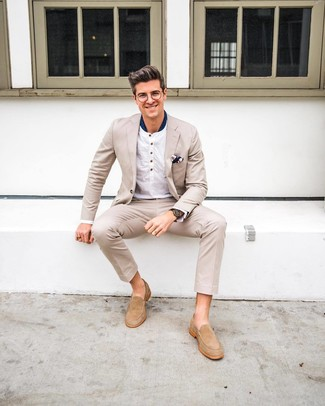 How to wear: navy print pocket square, beige suede loafers, white long sleeve henley shirt, beige suit