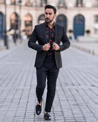 How to wear: black leather watch, black leather loafers, black floral long sleeve shirt, black suit