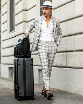 How to wear: black canvas tote bag, black leather loafers, white long sleeve shirt, grey plaid suit