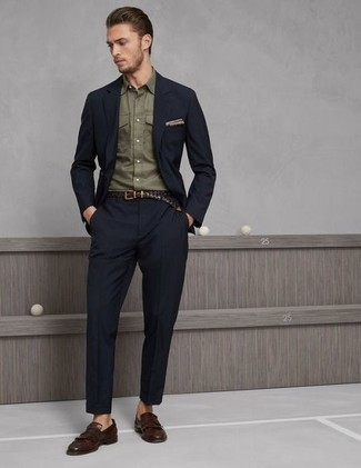 Fashion for 30 Year Old Men: What To Wear: A navy suit looks so classy when combined with an olive long sleeve shirt in a modern man's ensemble. Add brown fringe leather loafers to the mix and the whole outfit will come together quite nicely. As a 30-year-old gent, you want to start dressing maturely. If that's the case, inspiration like this is very useful.