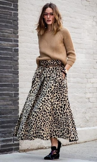 How to Wear a Tan Crew-neck Sweater For Women: This combo of a tan crew-neck sweater and a tan leopard maxi skirt is solid proof that a safe casual outfit can still be seriously stylish. For an on-trend hi-low mix, add a pair of black embellished velvet loafers to the mix.