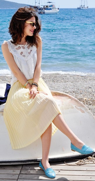 How to wear: beige sunglasses, aquamarine leather loafers, yellow pleated midi skirt, white lace sleeveless top