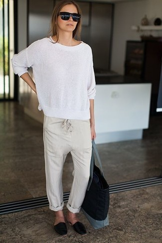 How to wear: black canvas tote bag, black leather loafers, beige pajama pants, white crew-neck sweater
