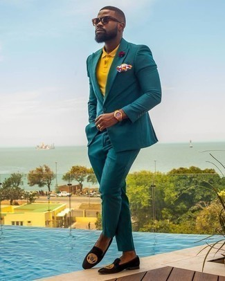 How to Wear Black Embroidered Velvet Loafers For Men: Dress in a teal suit and a mustard polo and you'll look seriously classic anywhere anytime. Bump up your outfit with black embroidered velvet loafers.