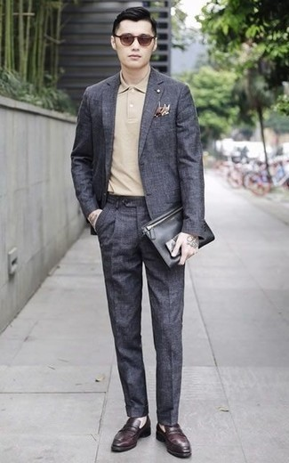 How to Wear Burgundy Leather Loafers For Men: For a look that's worthy of a modern trendsetting gent and casually smart, consider wearing a charcoal suit and a beige polo. Burgundy leather loafers are the simplest way to give a hint of elegance to your ensemble.